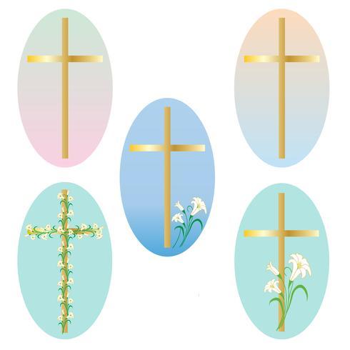 Påsk guld kors grafik