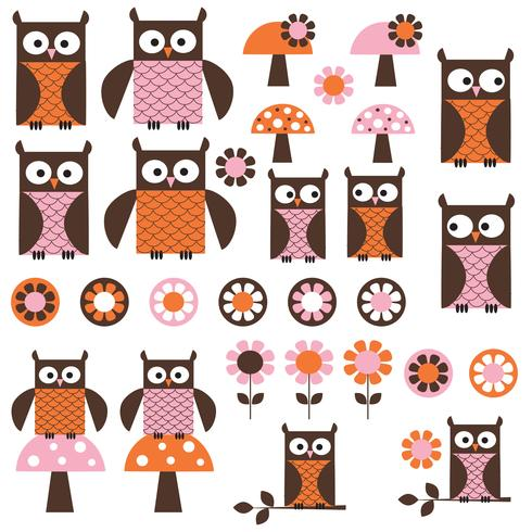 pink orange mod Owl Clipart vector