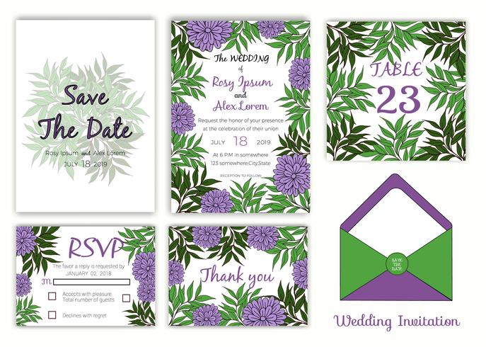 Wedding invitation , Save the date, RSVP card, Thank you card, Table number vector