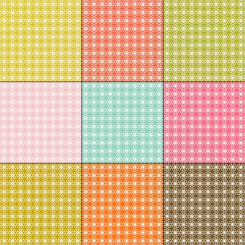 white daisy patterns on retro color backgrounds vector