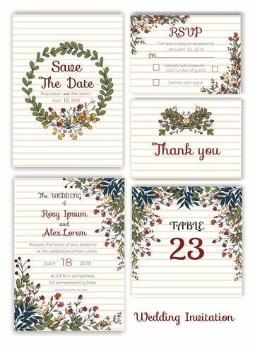 Bröllopinbjudan, spara datumet, RSVP-kort, tackkort