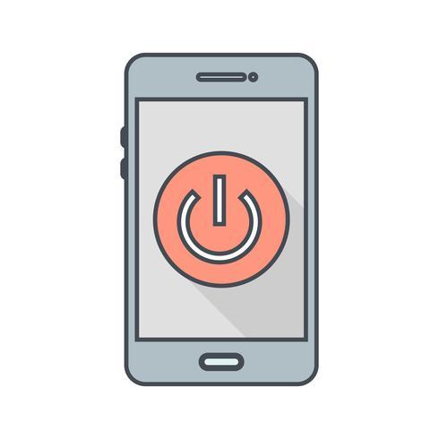Mise hors tension de l'icône du vecteur d'application mobile