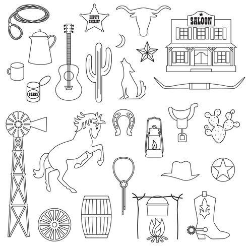 black outline cowboy digital stamps vector