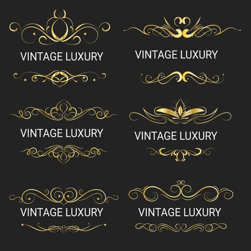 Guld dekorativa ram.Vintage mallar