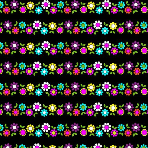 mod flower stripe on black background vector