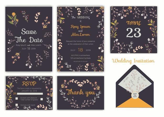 Invitación de boda, Ahorre la fecha, Tarjeta de RSVP, Tarjeta de agradecimiento