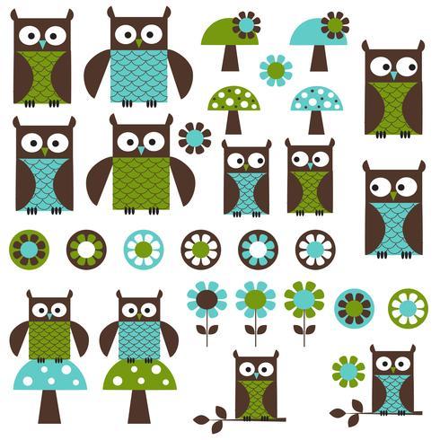 Blå Grön Mod Owl Clipart vektor