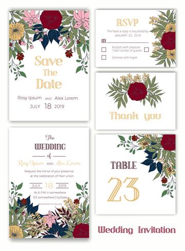 Wedding invitation , Save the date, RSVP card, Thank you card vector