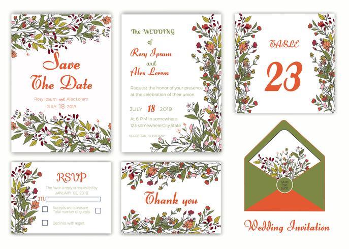 Invito a nozze, salva la data, scheda RSVP, biglietto di ringraziamento vettore