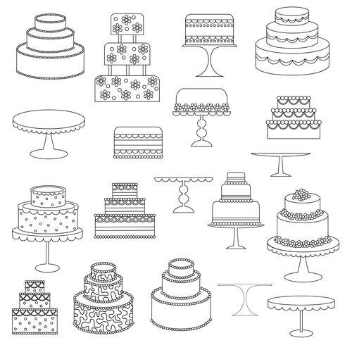 timbres numériques de gâteau contour noir vecteur