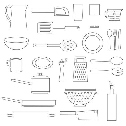 black outline kitchen cooking digital stamps