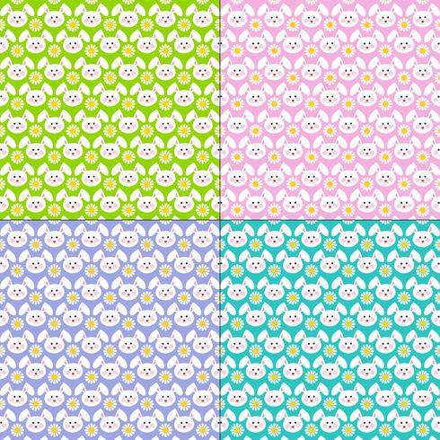 Easter bunny face and daisy patterns vector