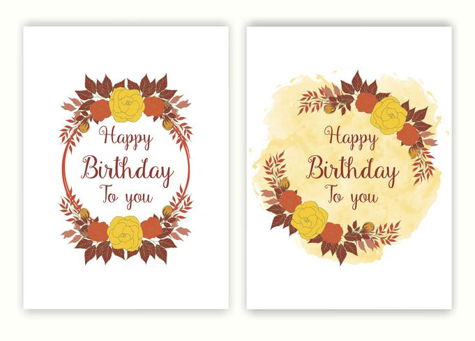 Cornice disegnata a mano floreale per un invito giorno di nascita.