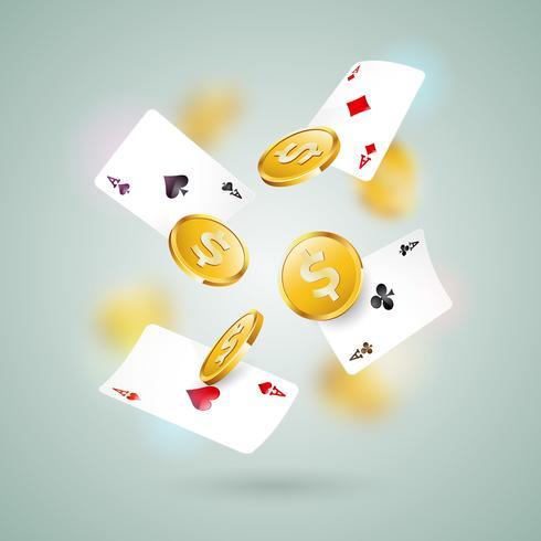 Vector la ilustración en un tema del casino con las tarjetas del póker y la moneda de oro en fondo limpio. Diseño de juego para banner de felicitación, póster, invitación o promo.