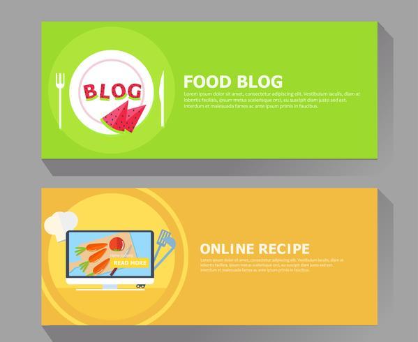 Food blog & online recipe banner vector