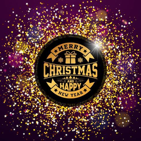 Vector feliz Natal e feliz ano novo ilustração com Design de tipografia em fundo brilhante brilhante. EPS 10