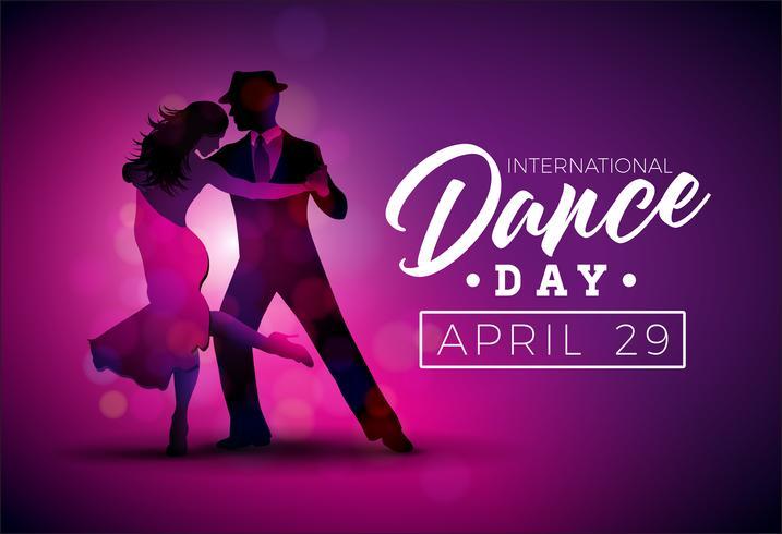 Internationale Tanztag-Vektor-Illustration mit Tangotanzenpaaren auf purpurrotem Hintergrund. Entwurfsvorlage für Banner, Flyer, Einladung, Broschüre, Poster oder Grußkarte.