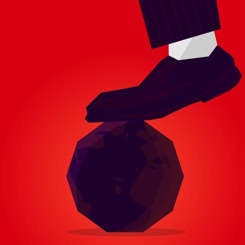 Op de planeet aarde komt de schoen van de dictator vector