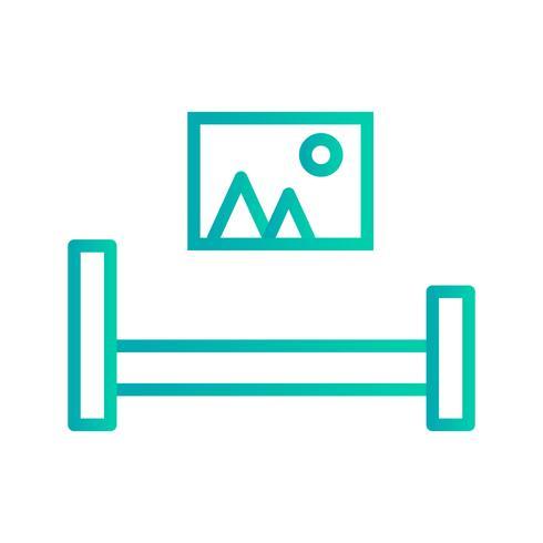 Ícone de vetor de quarto de cama