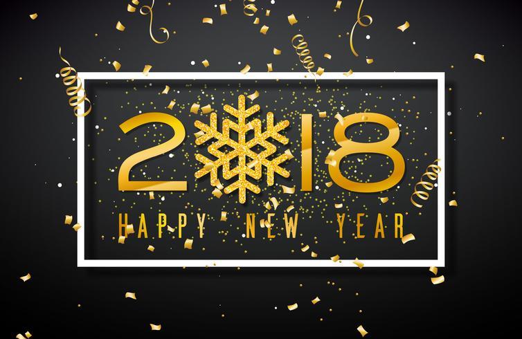 Feliz año nuevo 2018 Ilustración con número de oro y reluciente copo de nieve sobre fondo negro. Vector Holiday Design