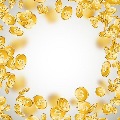 Ilustração realística das moedas de ouro no fundo limpo. Moeda caindo com cifrão. Projeto de conceito de sucesso de vetor.