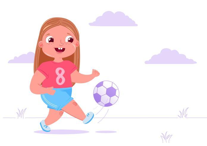 Girl kicking soccer ball outside
