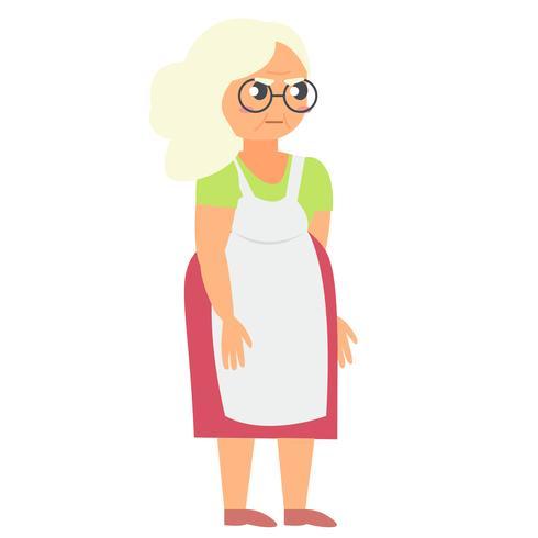 Grand-mère en colère en tablier vecteur