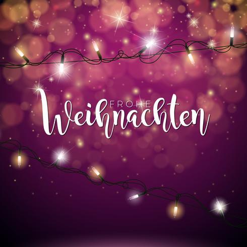 Vectorkerstmisillustratie met Duitse Frohe Weihnachten-Typografie en Vakanties Lichte Slinger op Glanzende Rode Achtergrond.