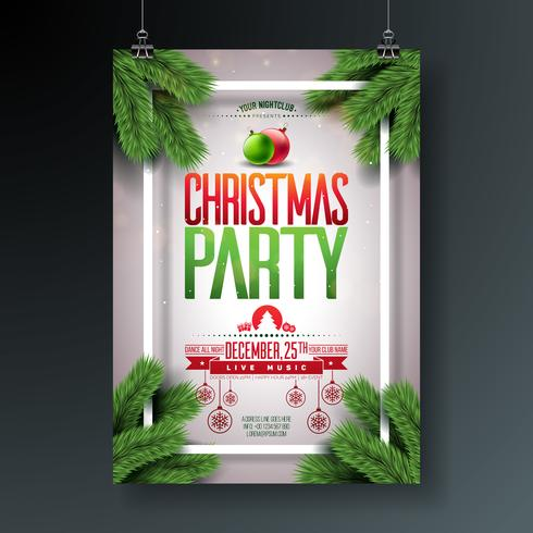 Vector Christmas Party Flygdesign med Holiday Typografi Elements and Ornamental Ball, Pine Branch på glänsande ljus bakgrund