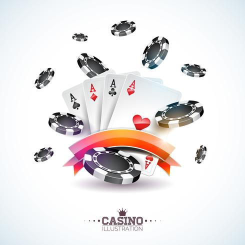 Vector illustration on a casino theme with poker cards and playing chips on white background. Gambling design for invitation or promo banner.