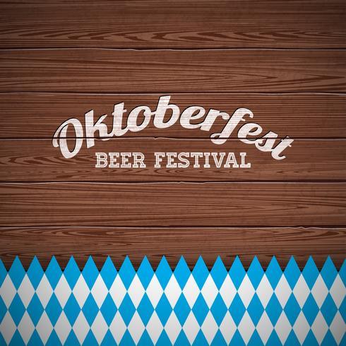 Oktoberfest-Vektorillustration mit gemaltem Buchstaben auf hölzernem Beschaffenheitshintergrund. Feierfahne für traditionelles deutsches Bierfest. vektor