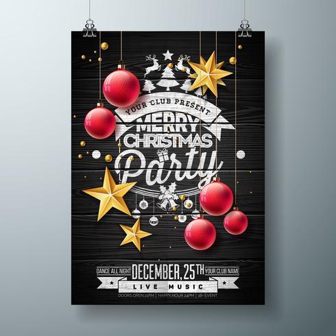 Vector Merry Christmas Party Design con elementi di tipografia di vacanza e palla ornamentale, stella di carta del ritaglio su fondo di legno dell'annata. Illustrazione di volantino di celebrazione. EPS 10.