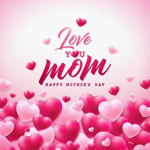 Happy Mothers Day Greeting Card Design With Heart And Love You Mom Typographic Elements On White Background