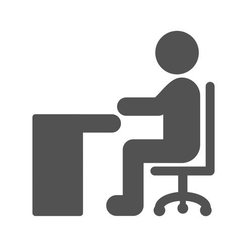 Vektor Sittande på Skrivbord Ikon