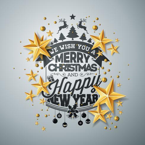 Vector la ilustración de la Navidad y del Año Nuevo con las estrellas de papel de la tipografía y del recorte en fondo limpio. Diseño de vacaciones para la tarjeta de felicitación, cartel, banner.