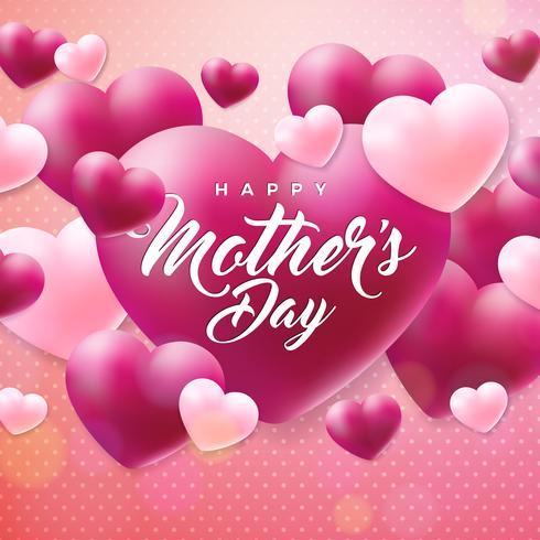 Lycklig mors dag hälsningskort med hjärtat på rosa bakgrund. Vektor firande illustration mall med typografisk design för banner