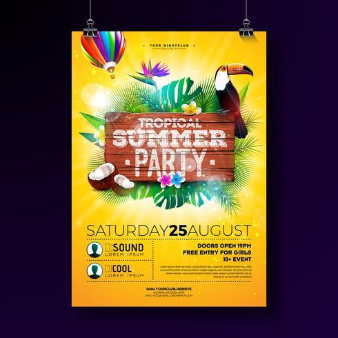 Vector Summer Beach Party Flyer Design med typografiska element på trästruktur bakgrund. Tropiska växter, blomma, toucan fågel, kokosnöt och luftballong