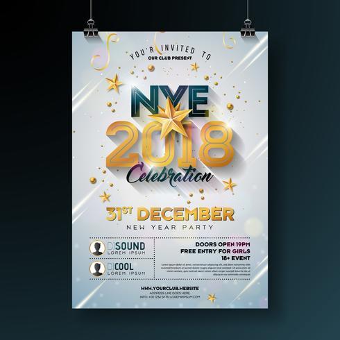 Illustrazione del modello del manifesto di celebrazione del partito del nuovo anno 2018 con il numero brillante dell'oro su fondo bianco. Vector Holiday Premium Invitation Flyer o Banner promozionale.