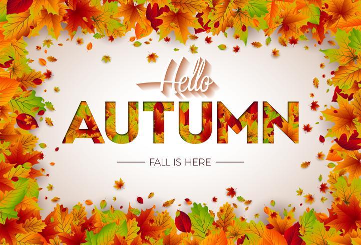 Ilustración de otoño con hojas caídas y letras sobre fondo blanco. Diseño otoñal del vector para la tarjeta de felicitación, la bandera, el aviador, la invitación, el folleto o el cartel promocional.