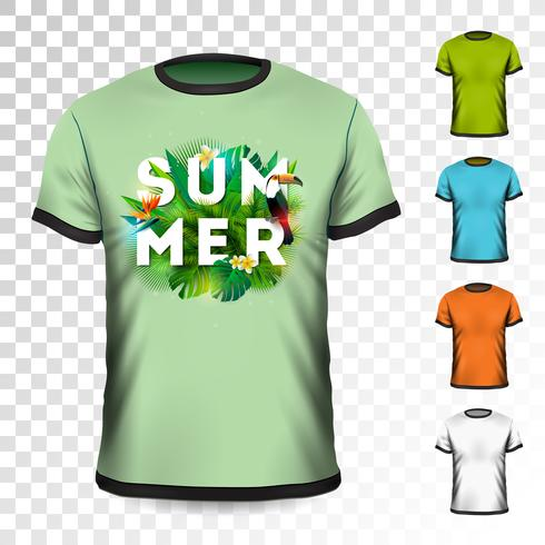 Summer Holiday T-Shirt design with tropical leaves, flower