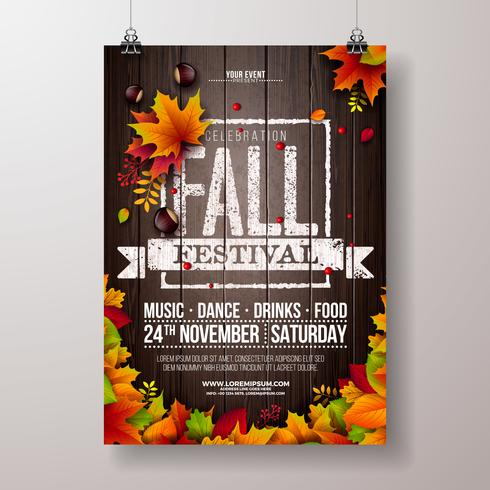 Autumn Party Flyer Illustration with falling leaves and typography design on vintage wood background. Vector Autumnal Fall Festival Desig