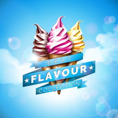 Ilustração do gelado com sobremesa deliciosa e fita etiquetada no fundo do céu azul. Modelo de design de vetor para banner promocional ou cartaz com baunilha, chocolate, soco.