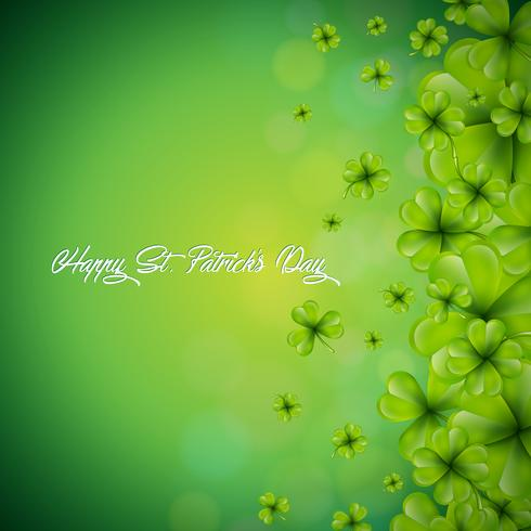 Saint Patricks Day Background Design with falling clovers leaf background. Irish Holiday Vector Illustration for Greeting Card, Party Invitation or Promo Banner.