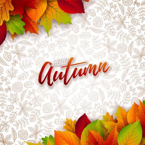 Ilustración de otoño con hojas caídas y letras sobre fondo blanco. Diseño otoñal del vector con los garabatos dibujados a mano para la tarjeta de felicitación, la bandera, el aviador, la invitación, el folleto o el cartel promocional.