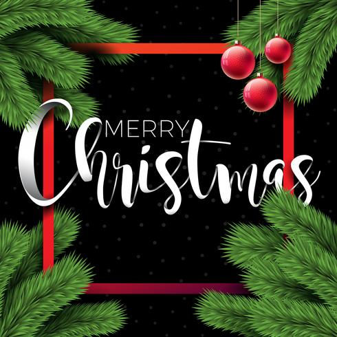 Merry Christmas Illustration on Black Background with Typography and Holiday Elements, Vector EPS 10 design.