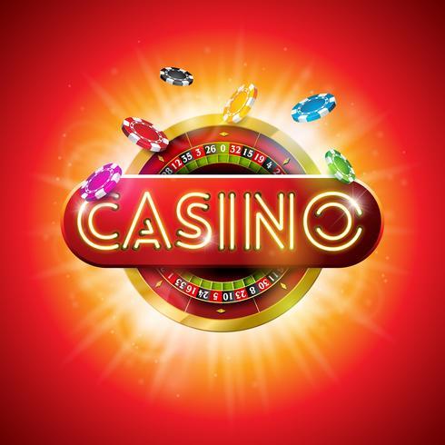 Casino Illustration med glänsande neonljusbrev och roulettehjul på röd bakgrund. Vektor gambling design för party affisch, gratulationskort, inbjudan eller promo banner.