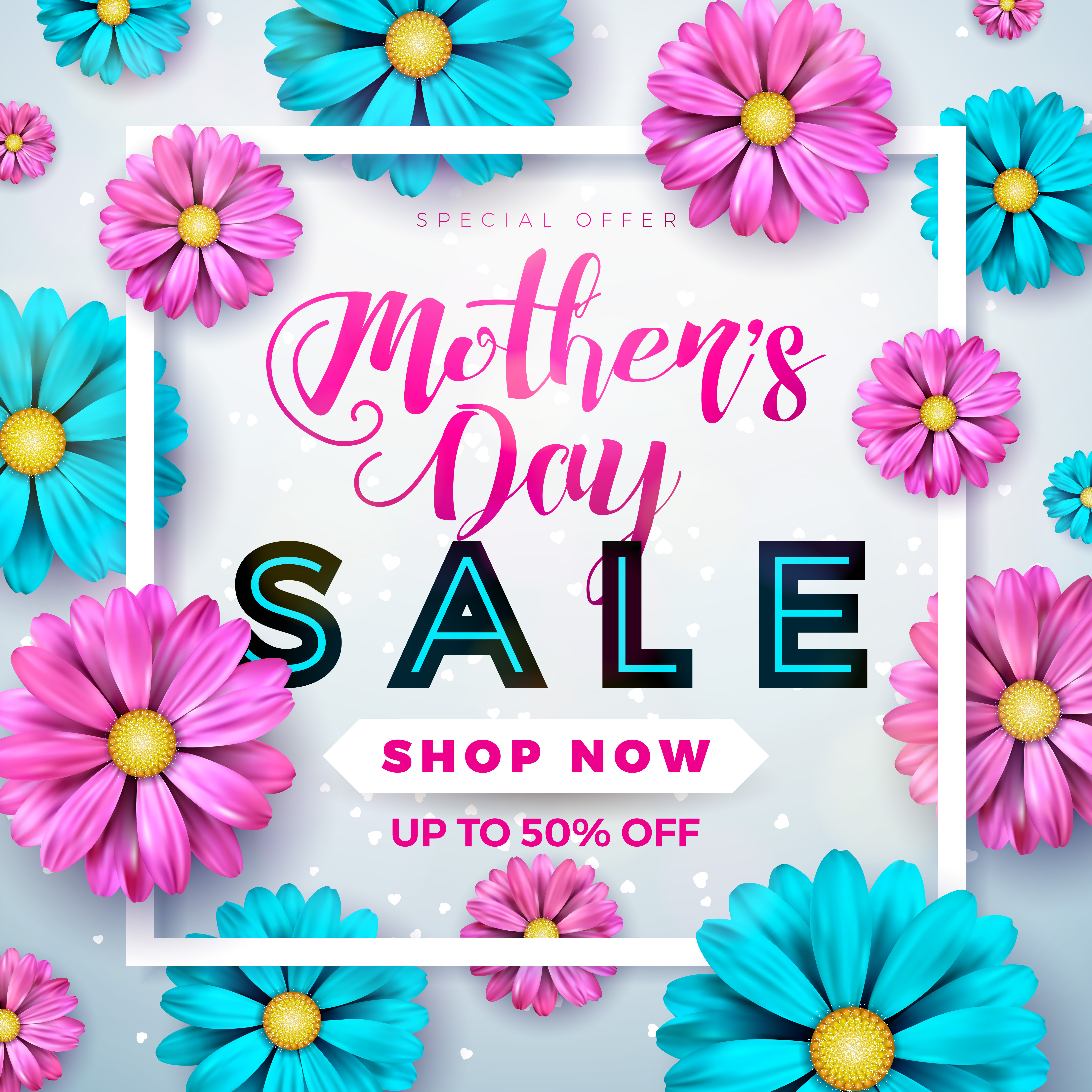 mothers day sale greeting card design with flower and