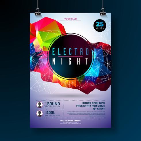 Diseño del cartel del partido de danza de la noche con formas geométricas modernas abstractas en fondo brillante. Plantilla de club de discoteca estilo electro para invitación de evento de música abstracta o banner promocional.