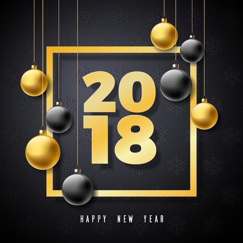 Ilustración de la Feliz Año Nuevo 2018 con número del oro y bola ornamental en fondo negro. Vector de diseño de vacaciones para la tarjeta de felicitación Premium, invitación del partido o banner promocional.