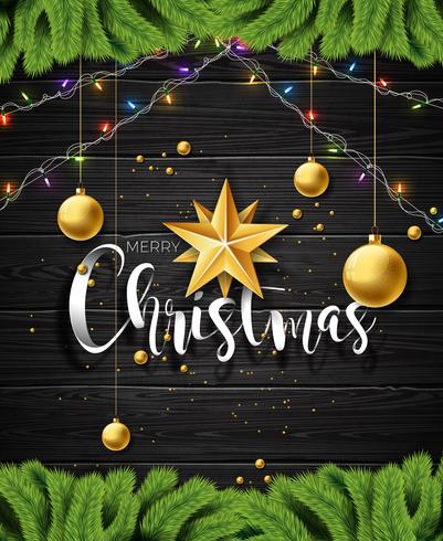 Vector frohe Weihnacht-Illustration auf Weinleseholz Hintergrund mit Typografie- und Feiertagselementen. Sterne, Kiefernzweig und Zierkugel. EPS 10 Design.